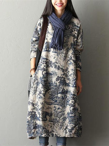 Casual Cotton Long Dress in Natural Print - Zebrant