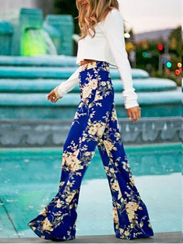 Floral Big Hem Wide Leg Bottom Casual Pants