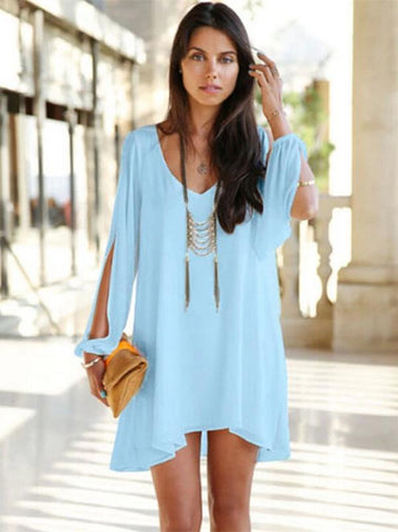 Chiffon Solid Color V Neck Mini Dress - Zebrant