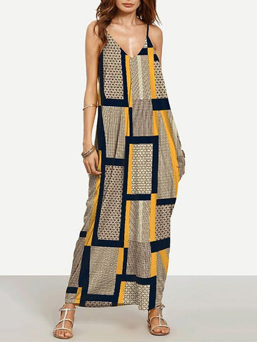 Colorful V-neck Stylish Ankle-deep Plaid Long Dress - Zebrant