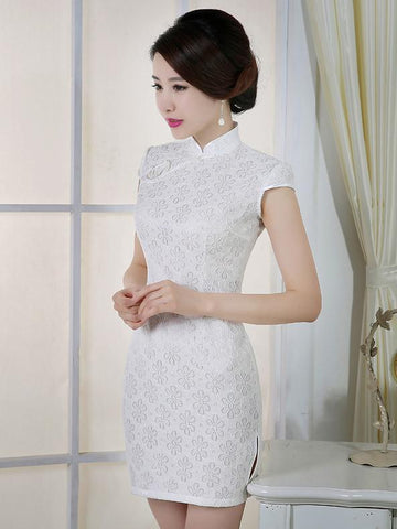 White Lace Short Cheongsam Dress - Zebrant