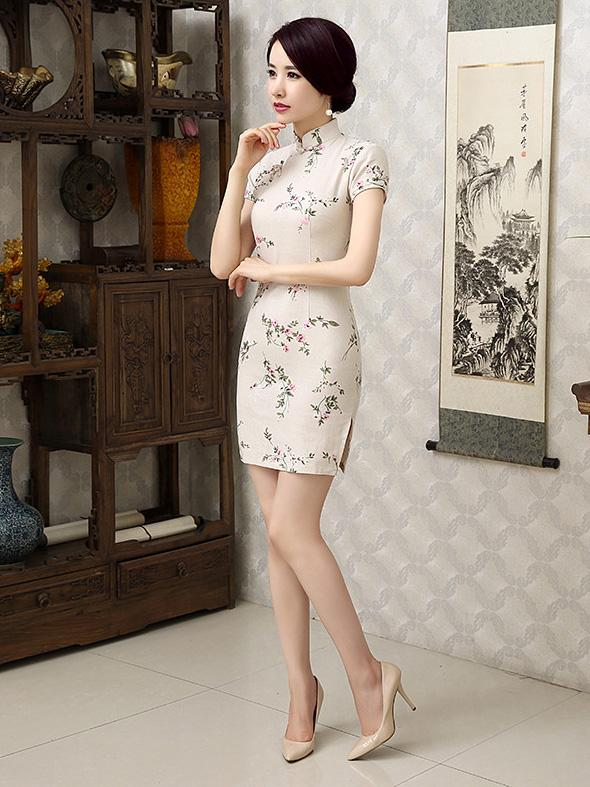 Linen Flower Print Short Cheongsam Dress - Zebrant