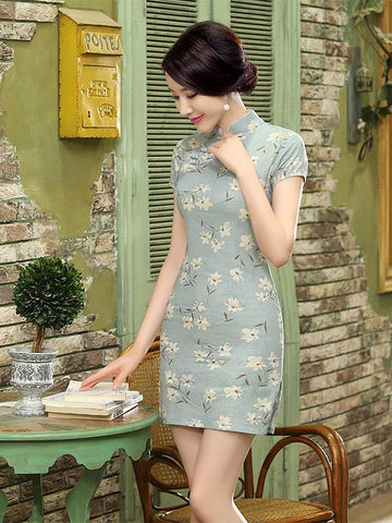 Chinese Traditional Light-green Short Dress with Floral Print - Zebrant