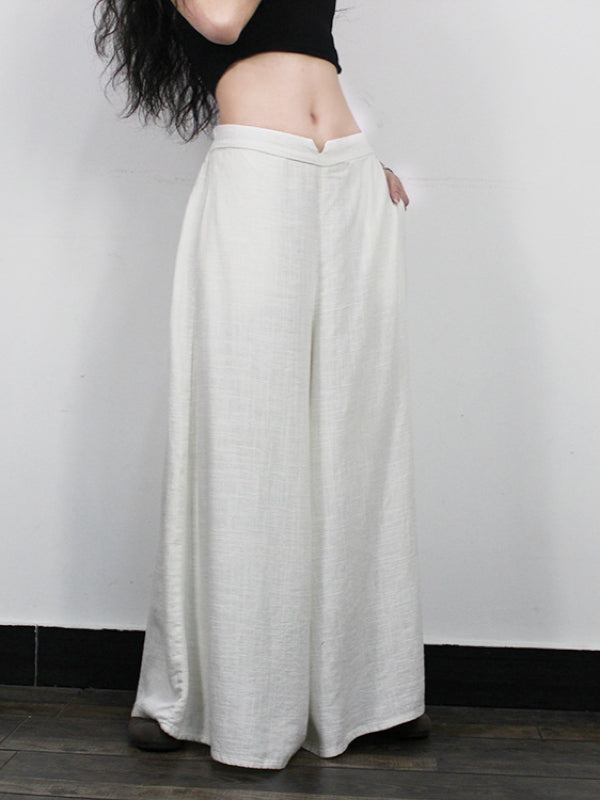 ORIGINAL RAMIE COTTON WIDE LEG PANTS - Zebrant
