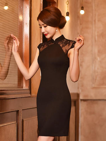 Short Traditional Slim Dress with Laced Shoulder