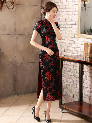 Black Red-flower Print Split-side Long Cheongsam - Zebrant