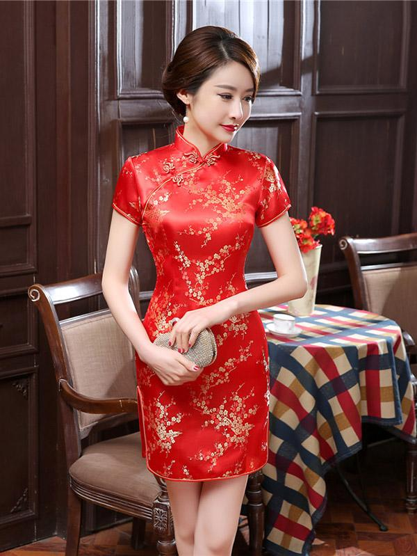 Red Plum Blossom Short Cheongsam Dress - Zebrant