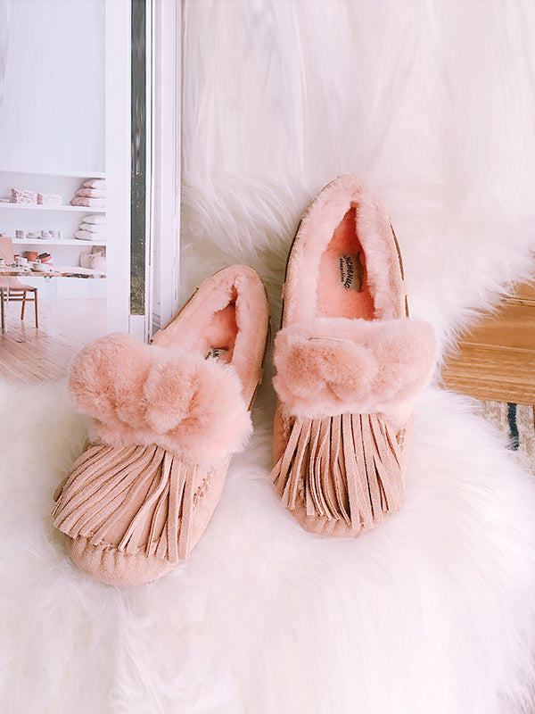 Fashion Wool Fur Ball Tassel Warm Cotton Shoes - Zebrant