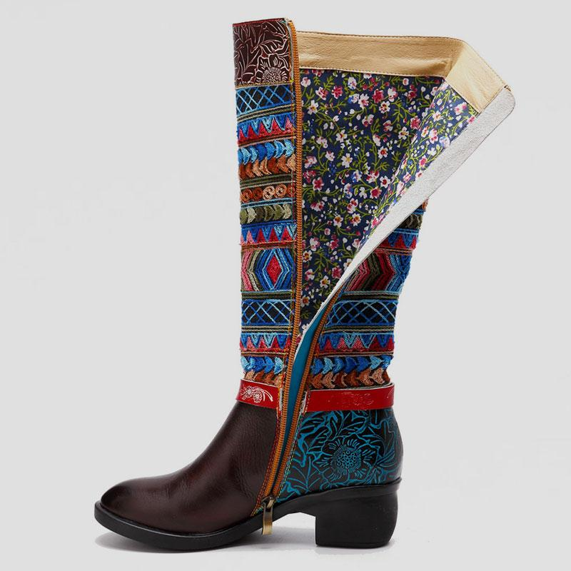 Casual Retro National Style Leather Chunky Low Heel High Tube Boots - Zebrant