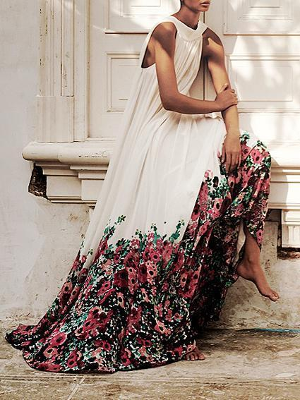 Floral Printed Halterneck Big Hem Maxi Dress - Zebrant