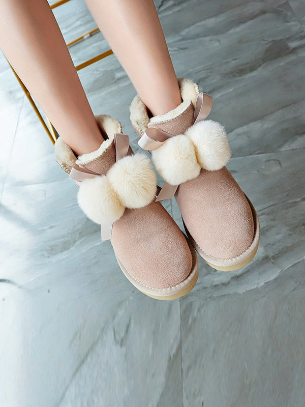 Korean Style Fur Ball Short Snow Boots Uggs - Zebrant