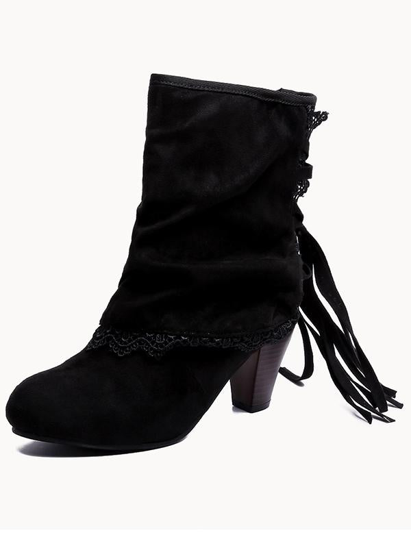 Solid Color Bandage Tasseled Purfle Lace Ankle Boots Shoes - Zebrant