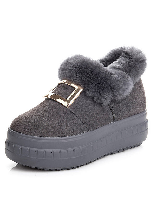 Winter Thick-Soled Trendy Furry Shoes - Zebrant