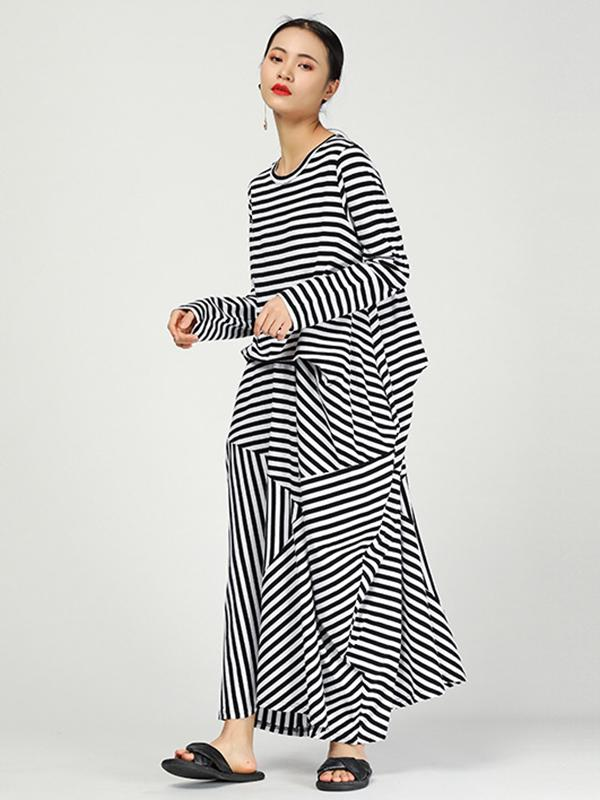 Loose Striped Irregular Long Dress - Zebrant