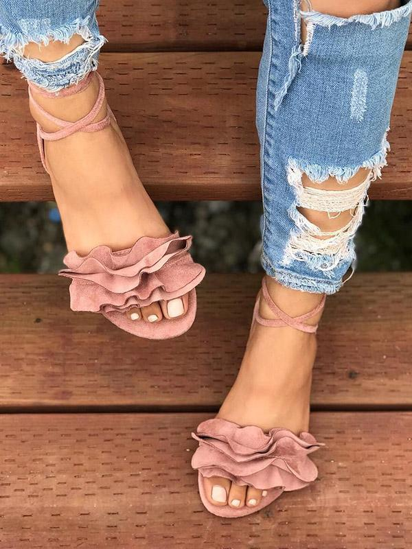 Pretty Women Flower Bandage Low-heel Sandals Shoes - Zebrant