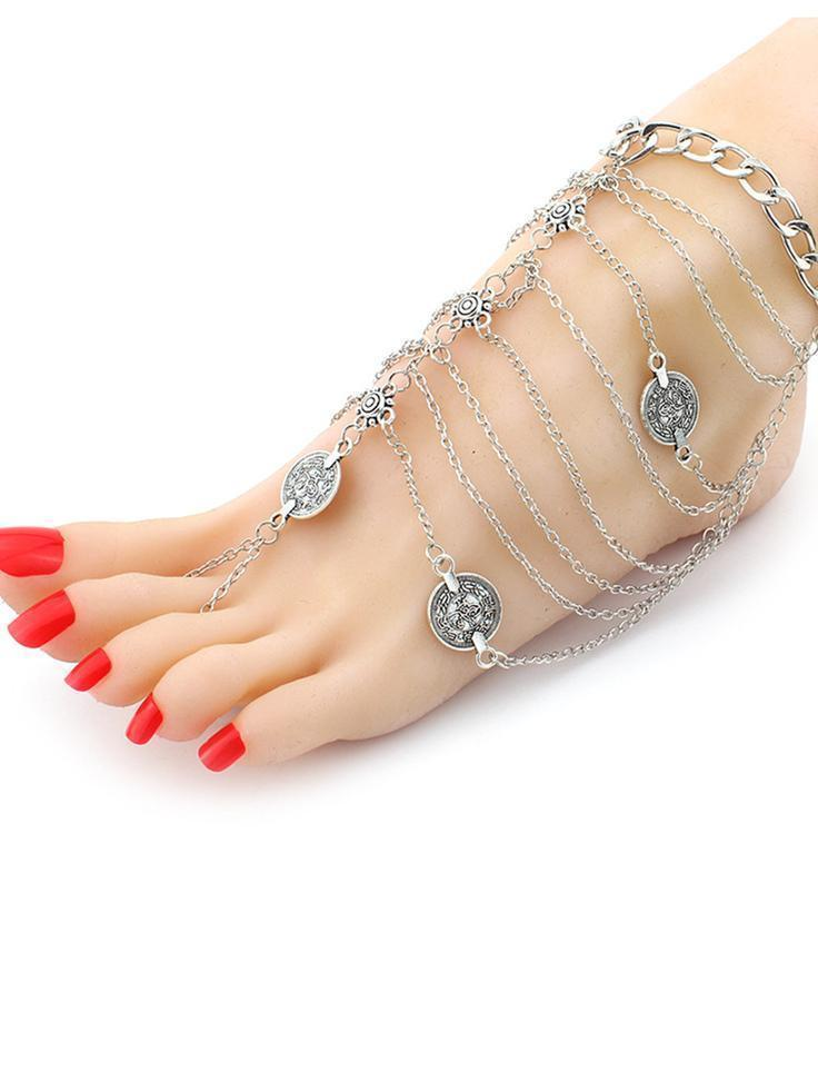 Vintage Punk Multilayer Tassels Footchain Accessories - Zebrant