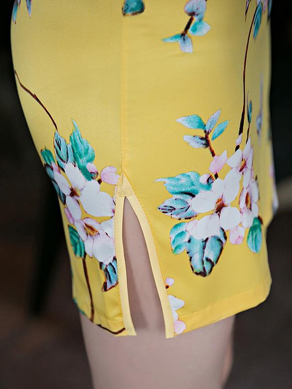 National Flower Printed Brilliant Yellow Short Slim Cheongsam Dress - Zebrant