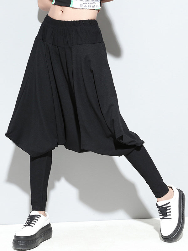 Casual Solid Cropped Harem Pants - Zebrant