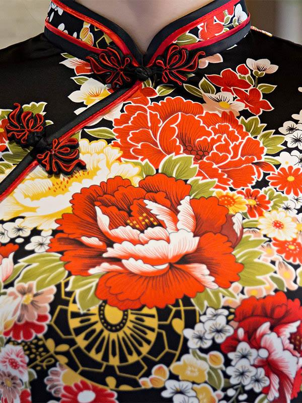 Floral Print Chinese Traditional Dress in Black Color - Zebrant