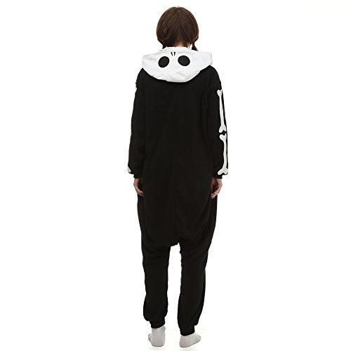Adults' Kigurumi Pajamas Skeleton Ghost Onesie Pajamas Polar Fleece Black / White Cosplay - Zebrant