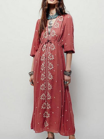 Embroidered V-neck Maxi Dress - Zebrant