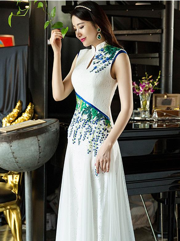 White Lace Long Cheongsam Dress Evening Dress - Zebrant