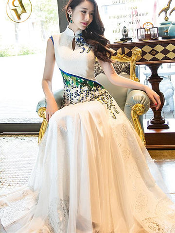 White Lace Long Cheongsam Dress Evening Dress