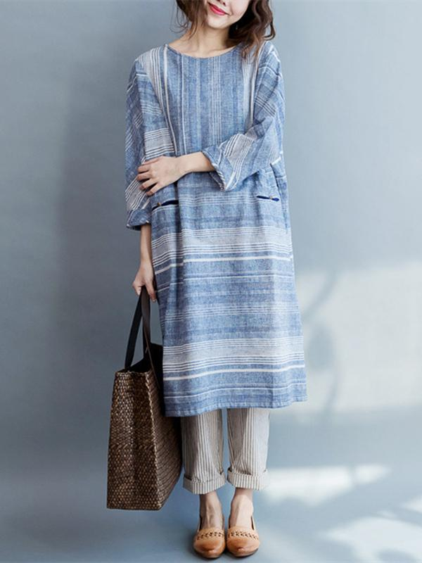 Original Classical Loosen Long Dress with Stripes in Blue Color - Zebrant