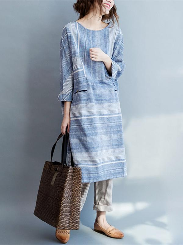 Original Classical Loosen Long Dress with Stripes in Blue Color