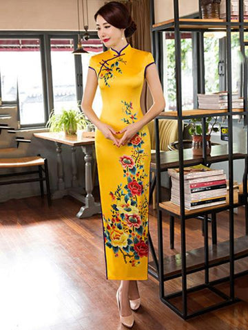Traditional Cheongsam Long Dress with Open Sides, Two Colors - Zebrant