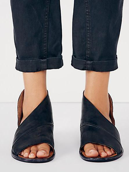 Fashion Side Open Casual Solid Open Toe Sandals Shoes - Zebrant
