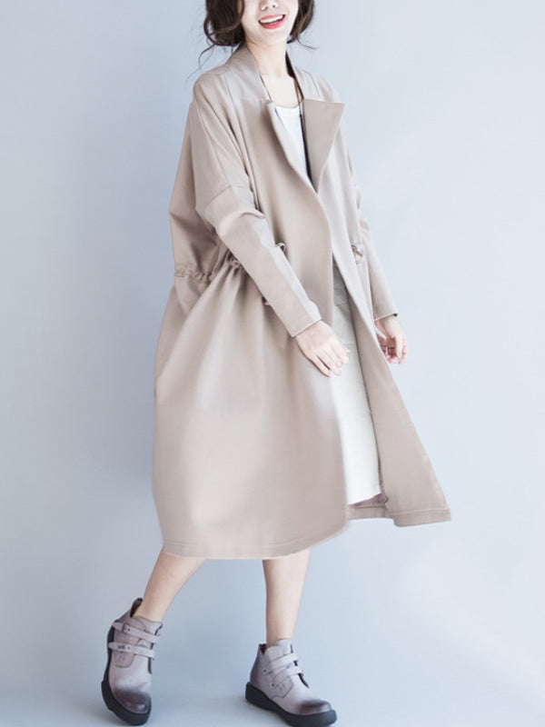 Casual Drawstring Long Coat - Zebrant