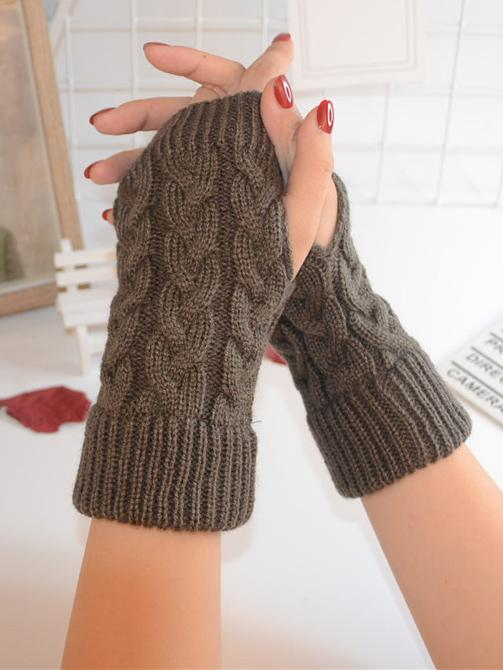 Threaded Half Finger Knit Gloves - Zebrant