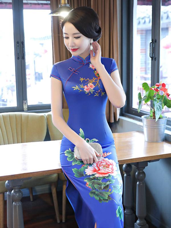 Blue Peony Print Side Split Long Cheongsam - Zebrant