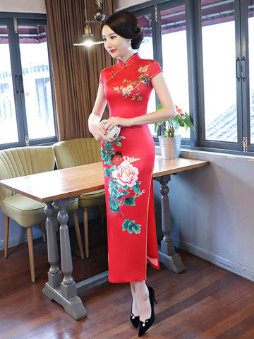 Red Peony Print Side Split Long Cheongsam - Zebrant