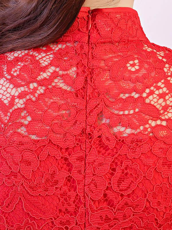 Red Lace See-through Split-side Short Cheongsam - Zebrant