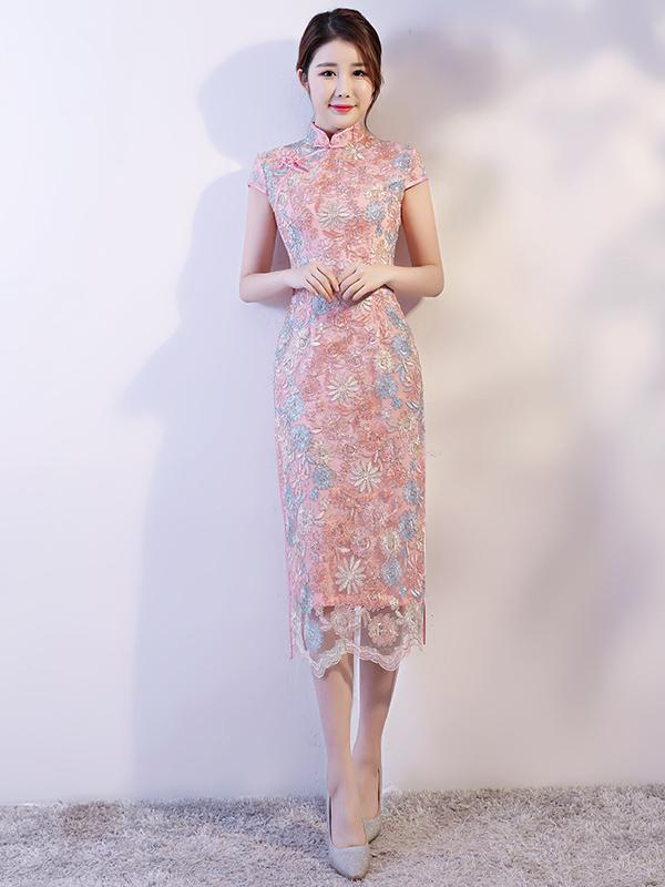 Lace Eugenia Split-side Long Cheongsam - Zebrant