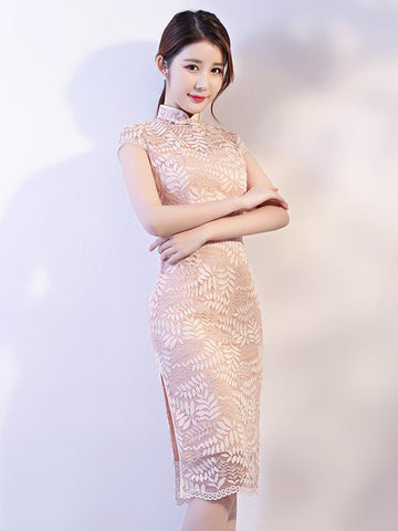 Apricot Lace See-through Split-side Short Cheongsam - Zebrant