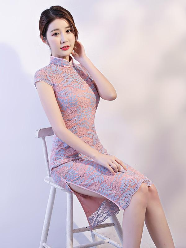 Pink Lace See-through Split-side Short Cheongsam - Zebrant