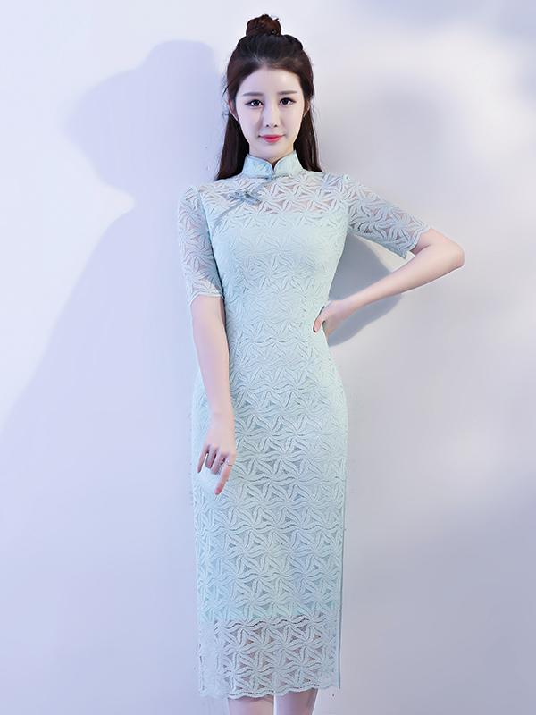 Light-green Lace Hollow Split-side Long Cheongsam - Zebrant