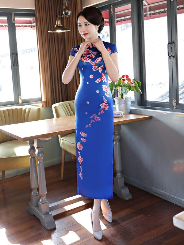 Blue Flower Print Stand-collar Long Cheongsam - Zebrant