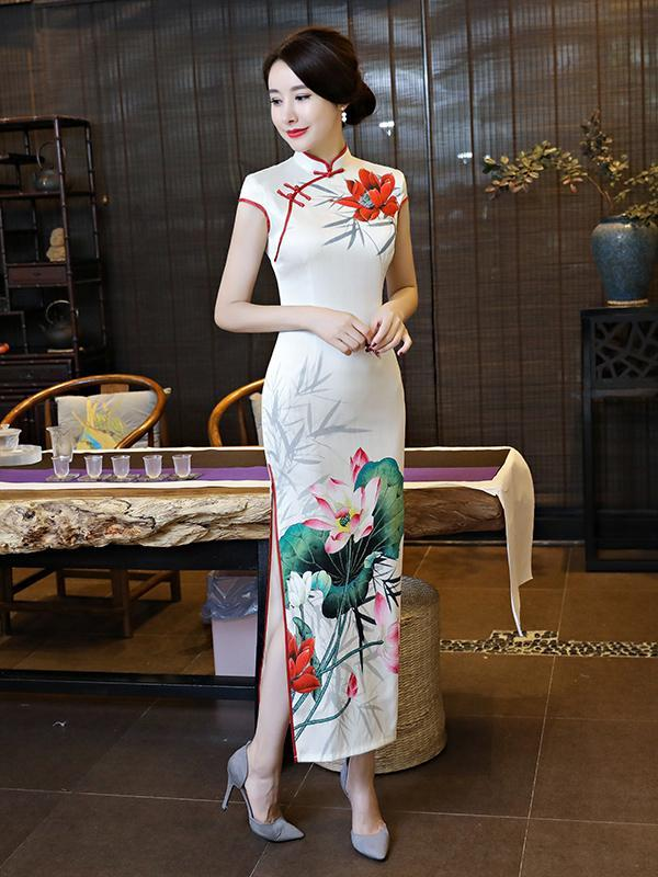 White Lotus Side Split Long Cheongsam - Zebrant