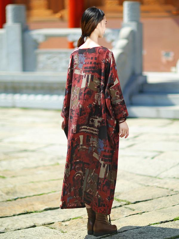 Expressive Long Loosen Dress with Impressionism Printing - Zebrant