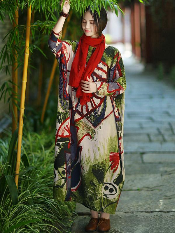 Expressive Long Loosen Dress with Impressionism Printing