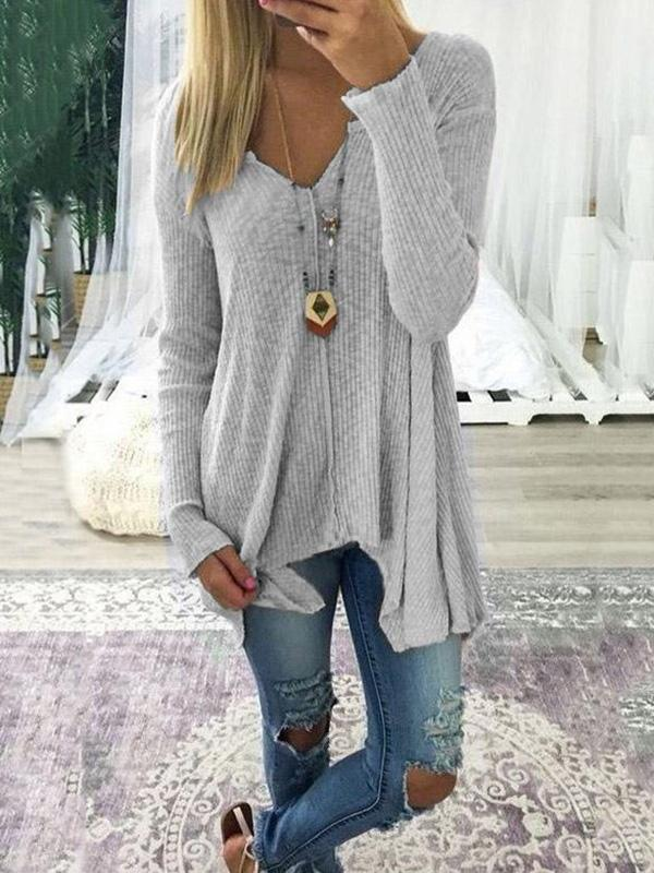 Loose Solid Color Long Sleeves Sweater Tops - Zebrant