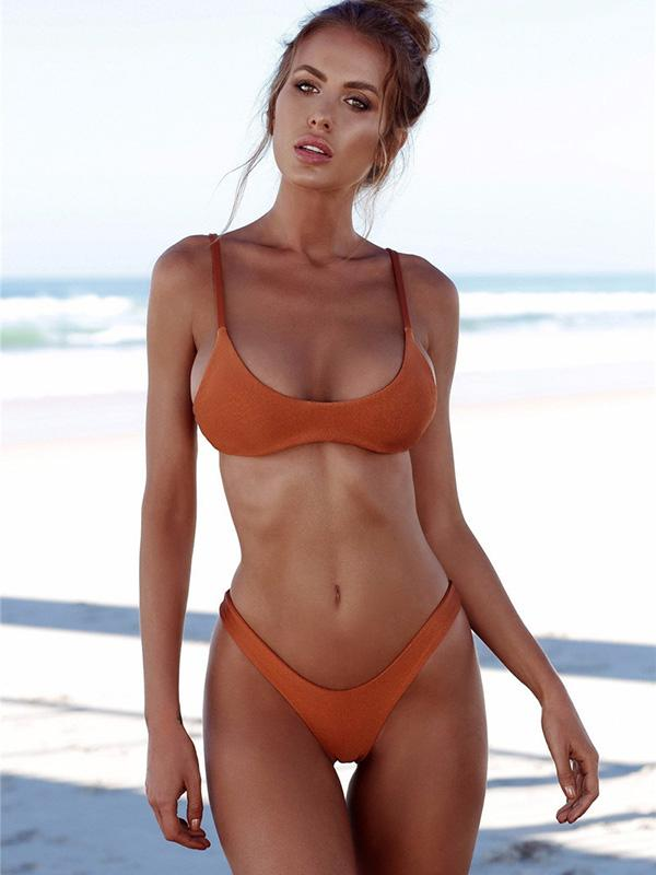 Sexy Solid Tight Bikinis Swimwear