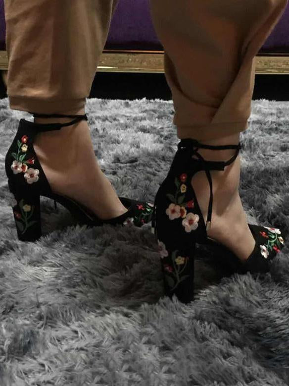 Embroidered Chunky Heels Shoes