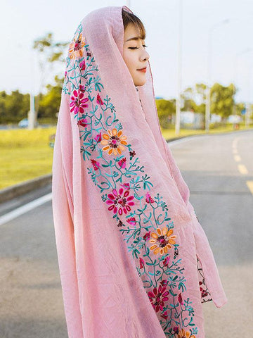 Traditional Style Shawl Scarf with Flower Print, Seven Colors - Zebrant