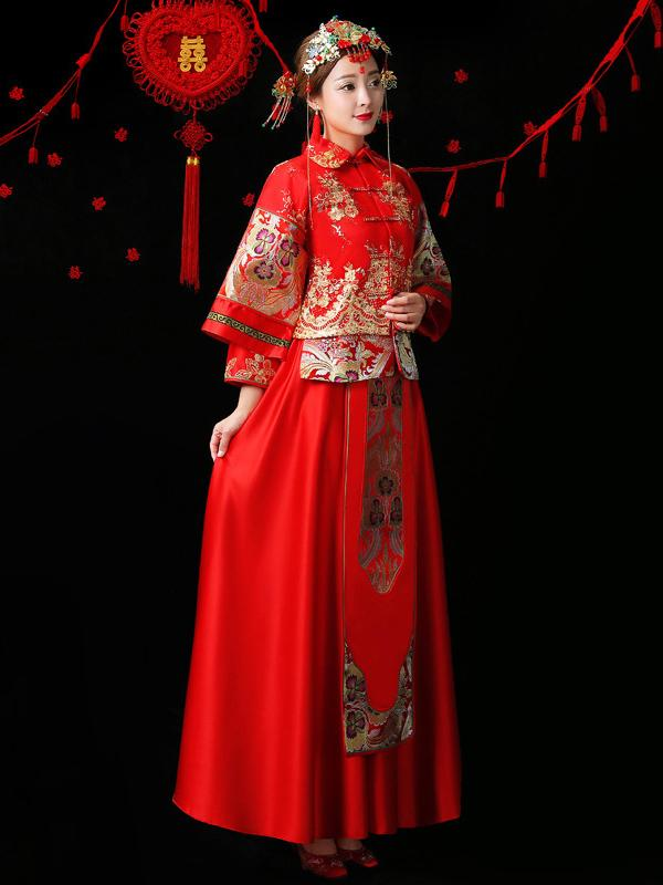 Embroidered Draping Lapel Xiuhe Suit Toast Suit Wedding Dress - Zebrant