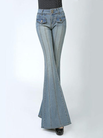 Long Fashion Retro Slim Jeans with Broad Bottoms - Zebrant